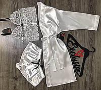 Белый комплект халат+пижама (кружевной бюстгальтер и шорты).