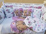 Комплект в детскую кроватку 8 в 1 Спальный комплект для девочки, фото 3