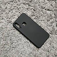 Силиконовый матовый чехол с микрофиброй для Vivo Y15 черный