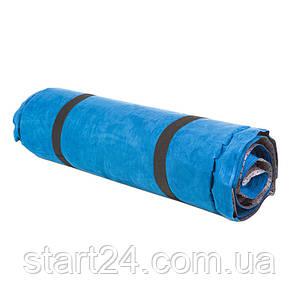 Коврик туристический надувной, 188*64*4см, голубой, велюр.