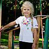 Детская вышиванка на девочку короткий рукав Фиалка цветная размер 92-152