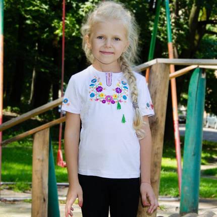 Детская вышиванка на девочку короткий рукав Фиалка цветная размер 92-152, фото 2