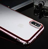 Силиконовый чехол для iPhone XS Max ободок со стразами, фото 1