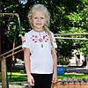 Детская вышиванка на девочку короткий рукав Фиалка розовая размер 92-152