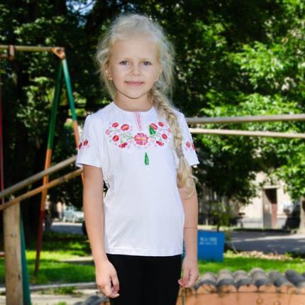 Детская вышиванка на девочку короткий рукав Фиалка розовая размер 92-152, фото 2