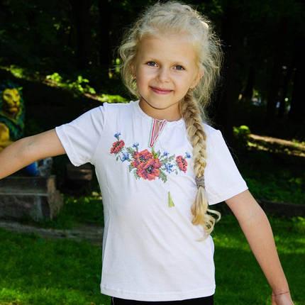 Детская вышиванка короткий рукав Мак крестиком 92-152, фото 2