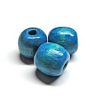 Бусины деревянные круглые 8мм голубые