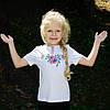 Детская вышиванка на девочку короткий рукав Мак крестиком розовый размер 92-152