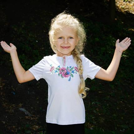 Детская вышиванка на девочку короткий рукав Мак крестиком розовый размер 92-152, фото 2