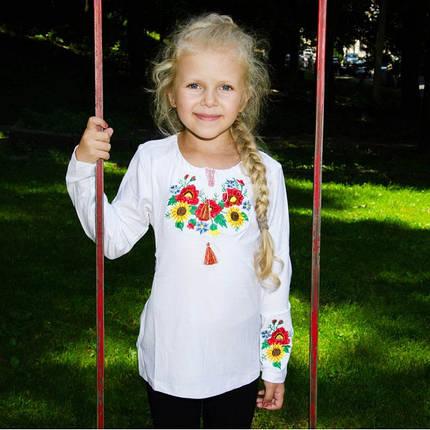 Футболка вышиванка с длинным рукавом для девочек размер 122-152, фото 2