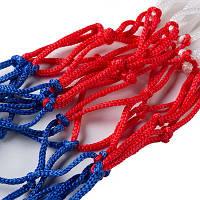 Сетка баскетбольная 6005, бело/сине/красный, вес-70г, L=44cm, D45cm, Dшнура 4мм.