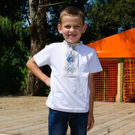Футболка вышиванка на мальчика с сине-желтым орнаментом короткий рукав размер 92-152, фото 2