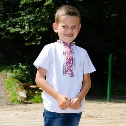 Футболка вышиванка на мальчика с красным орнаментом короткий рукав размер 92-152, фото 2