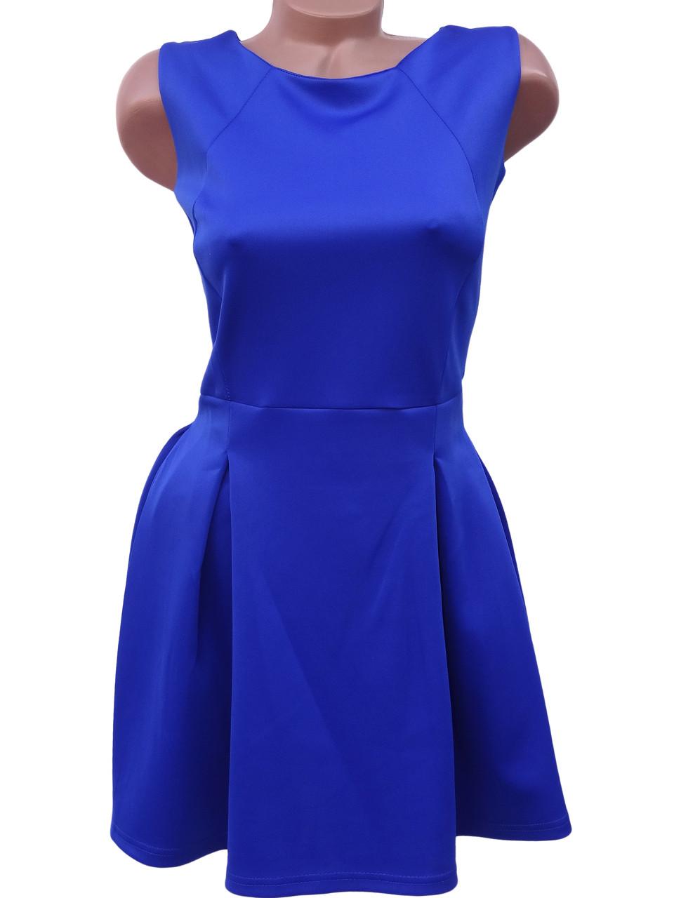 Яркое женское платье из дайвинга (синий 44-46)
