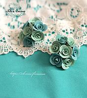 """""""Мятная бирюза"""" серьги с розами ручной работы, фото 1"""