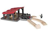 Локомотивное депо с поворотным кругом для деревянной железной дороги Playtive Junior