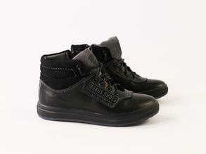 Зимние черные кожаные ботиночки