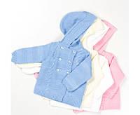Двубортная кофта для малышей р 68,74,80,86 см цвет белый,голубой,молочный,св.-розовый