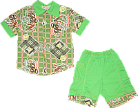 Детский летний костюмчик, рубашка с коротким рукавом и шортики, хлопок (кулир), ТМ Малыш, р. 116, 122 Украина