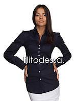 Рубашка с защипами на груди темно-синий, фото 1