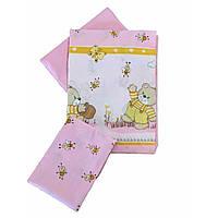 Сменное детское постельное белье Twins Comfort С-008 Медвежонок с пчелками, розовый
