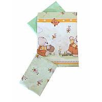 Сменное детское постельное белье Twins Comfort С-009 Медвежонок с пчелками, зеленый