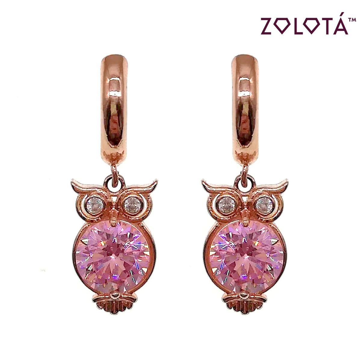 Серьги Zolota из медицинского золота с розовыми фианитами (куб. цирконием), в позолоте, ЗЛ00690 (1)