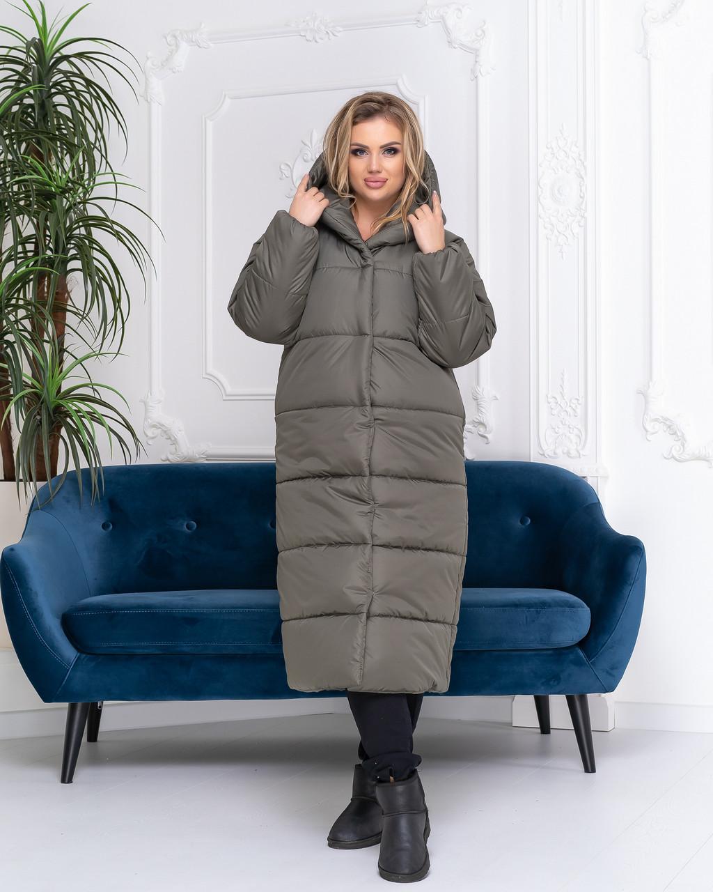 Пальто зима, артикул 521, колір сіро-зелений