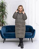 Пальто зима, артикул 521, колір сіро-зелений, фото 1