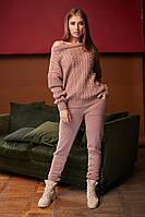 Стильный, женский вязаный костюм, ткань итальянская пряжа, размер универсальный 44-48, фото 1