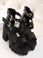 Женские черные стильные босоножки с шипами, фото 1
