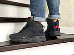 Мужские зимние кроссовки Nike Air Huarache (темно-синие, с красным), фото 4