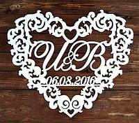 Фамильный Герб в Сердце с Датой Белый 58х50см Свадебные Инициалы, деревянная монограмма, семейный на свадьбу