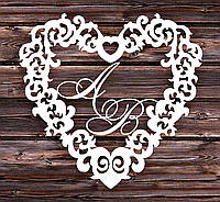Фамильный Герб в Сердце Белый 55х48см Свадебные Инициалы, деревянная монограмма, семейный герб на свадьбу