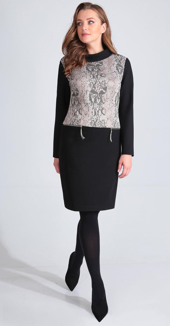 Платье Golden Valley-4628 белорусский трикотаж, черный с бежевым, 48