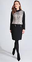 Платье Golden Valley-4628 белорусский трикотаж, черный с бежевым, 48, фото 1