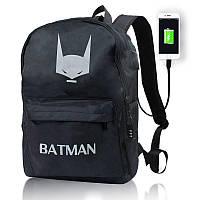 Рюкзак светящийся в темноте  | Люминесцентный эффект Бэтмен Senkey Style | Рюкзак Бэтмен USB + замок
