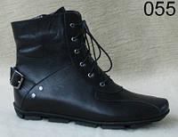 Женские кожаные осенние ботинки на низком ходу
