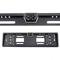Камера заднего вида в авто номерной рамке с 4 LED подсветкой Black