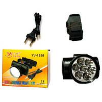 Налобный аккумуляторный фонарь YAJIA YJ-1858 7LED | фонарик на голову светодиодный