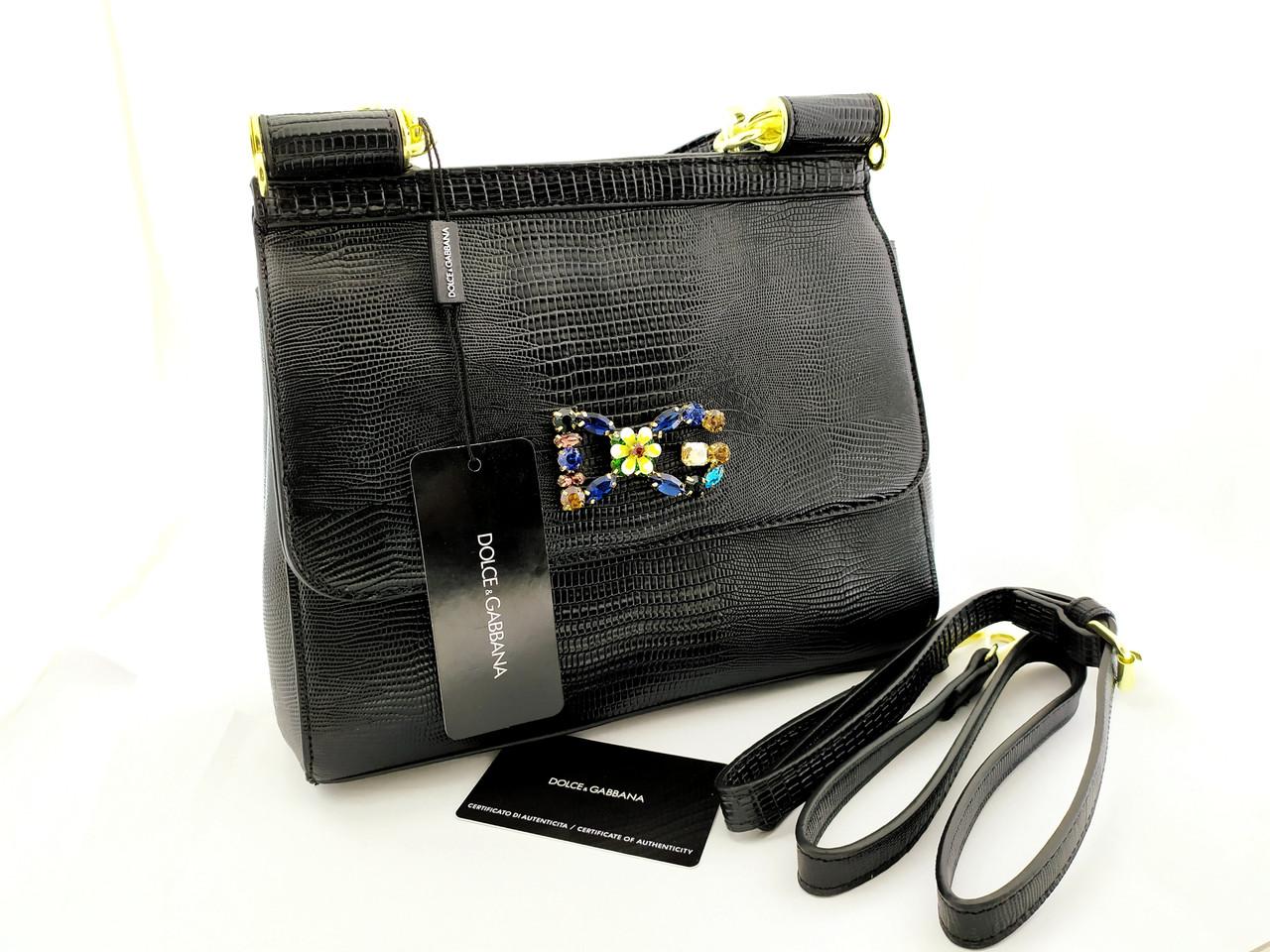 Шикарная брендовая сумка  Dolce & Gabbana, натуральная кожа