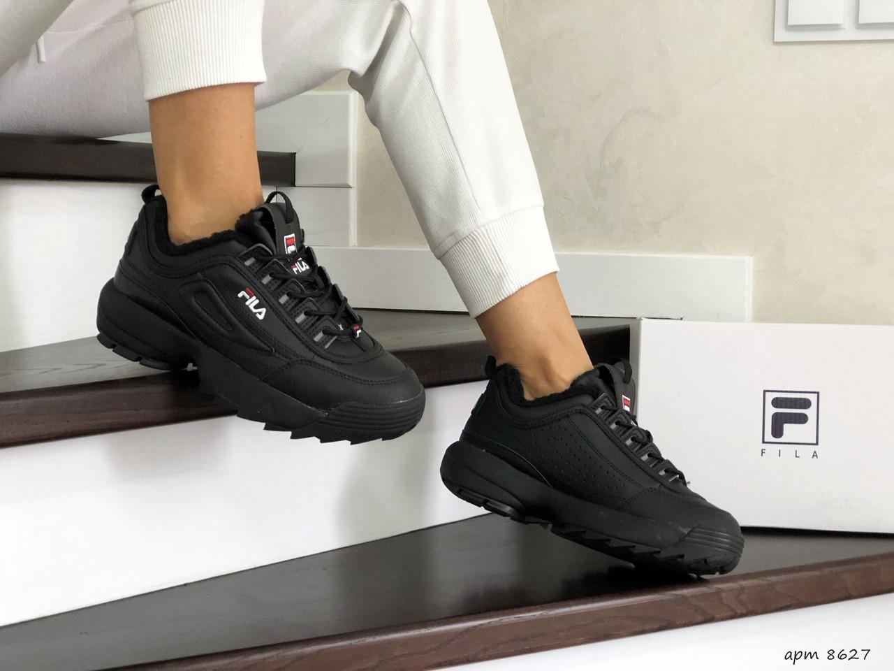 Жіночі зимові кросівки Fila (чорні)