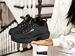 Жіночі зимові кросівки Fila (чорні), фото 2