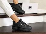 Жіночі зимові кросівки Fila (чорні), фото 4
