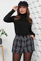 Базовый женский теплый свитер гольф черный