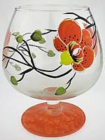 """Ваза стеклянная ручной работы """"Оранжевые цветы"""" (Бокал маленький) ZA-1002"""