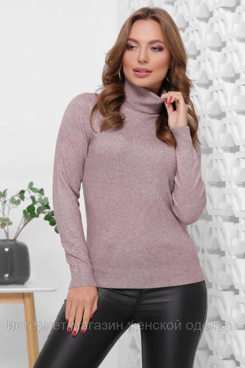 Базовый женский теплый свитер гольф капучино