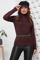Базовый женский теплый свитер гольф шоколадный