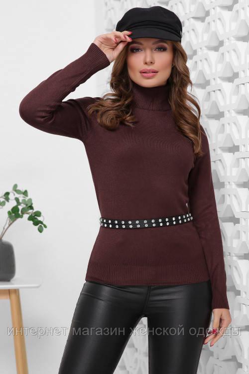 Женский свитер гольф шоколадного цвета Модные женские стильные свитера с горлом
