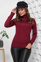 Базовый женский теплый свитер гольф бордовый